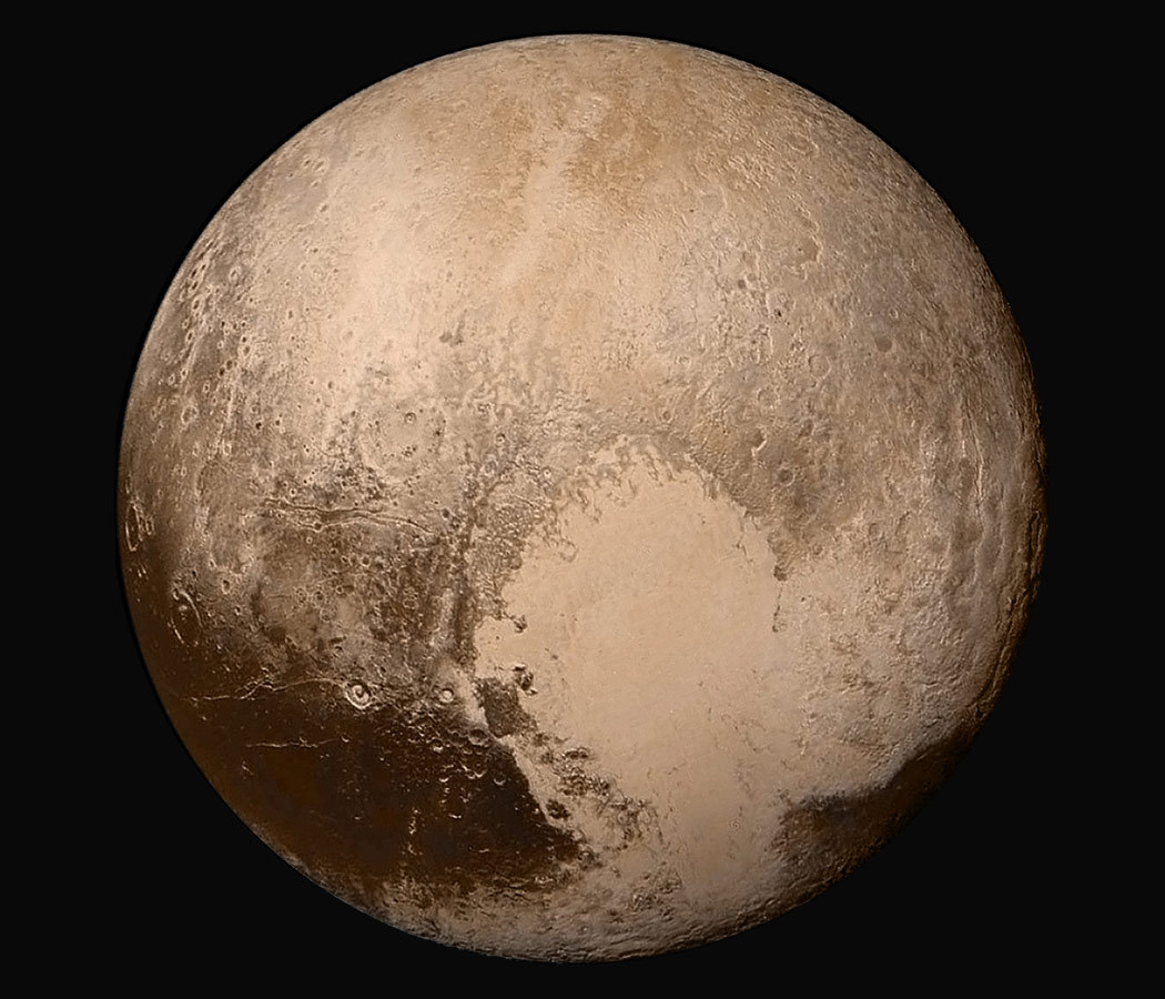 Pluto, its 'heart' prominently displayed.